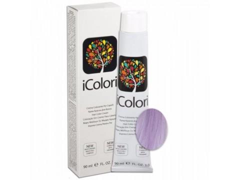 iCOLORI  plaukų dažai su argininu, aliejų kompleksu, sumažintu amoniako kiekiu profesionaliam naudojimui (90 ml) Nr. 12.81 BIONDO SPECIALE CENERE PERLA