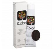 iCOLORI  plaukų dažai su argininu, aliejų kompleksu, sumažintu amoniako kiekiu profesionaliam naudojimui (90 ml) Nr. 4.4 CASTANO RAME