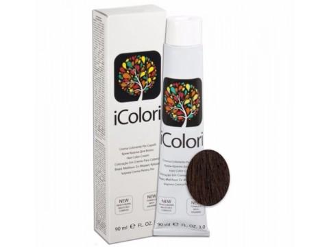 iCOLORI  plaukų dažai su argininu, aliejų kompleksu, sumažintu amoniako kiekiu profesionaliam naudojimui (90 ml) Nr.4.5 CASTANO MOGANO