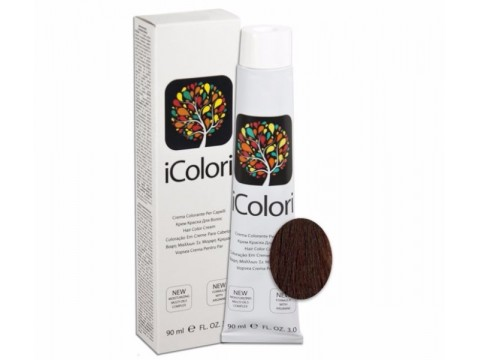 iCOLORI  plaukų dažai su argininu, aliejų kompleksu, sumažintu amoniako kiekiu profesionaliam naudojimui (90 ml) Nr. 5.5 CASTANO CHIARO MOGANO