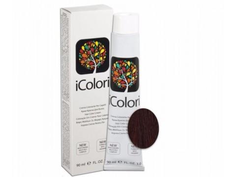 iCOLORI  plaukų dažai su argininu, aliejų kompleksu, sumažintu amoniako kiekiu profesionaliam naudojimui (90 ml) Nr. 5.66 CASTANO CHIARO ROSSO INTENSO