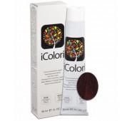 iCOLORI  plaukų dažai su argininu, aliejų kompleksu, sumažintu amoniako kiekiu profesionaliam naudojimui (90 ml) Nr.5.666 CASTANO CHIARO ROSSO EXTRA INTENSO