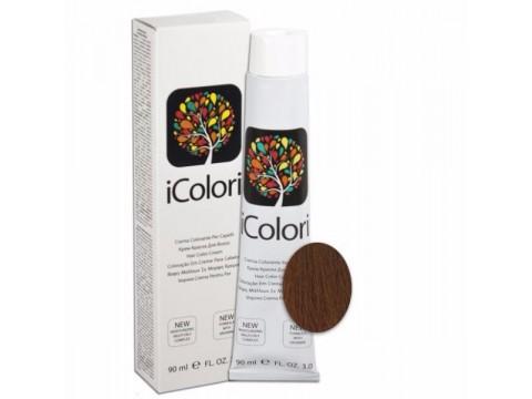 iCOLORI  plaukų dažai su argininu, aliejų kompleksu, sumažintu amoniako kiekiu profesionaliam naudojimui (90 ml) Nr. 6.34 BIONDO SCURO ORO RAMATO