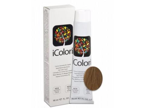 iCOLORI  plaukų dažai su argininu, aliejų kompleksu, sumažintu amoniako kiekiu profesionaliam naudojimui (90 ml) Nr. 7.33 BIONDO DORATO INTENSO