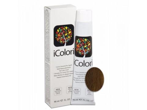 iCOLORI  plaukų dažai su argininu, aliejų kompleksu, sumažintu amoniako kiekiu profesionaliam naudojimui (90 ml) Nr. 7.73 BIONDO NOCCIOLA