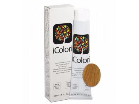 iCOLORI  plaukų dažai su argininu, aliejų kompleksu, sumažintu amoniako kiekiu profesionaliam naudojimui (90 ml) Nr. 9.34 BIONDO CHIARISSIMO ORO RAMATO