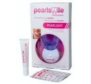 PEARLSMILE kosmetinio dantų balinimo namuose su LED lempa RINKINYS ir 3 vnt balinimo servetėlių