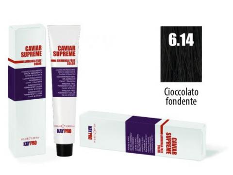 CAVIAR SUPREME - CREMA COLORANTE Kreminiai plaukų dažai be amoniako ir pPD 6.14 Cioccolato fondente