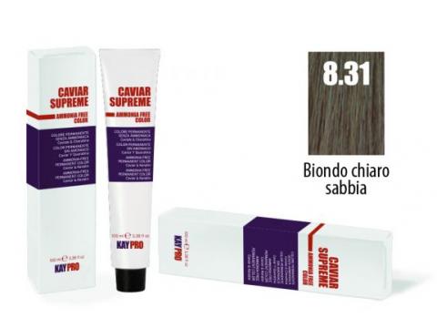 CAVIAR SUPREME - CREMA COLORANTE Kreminiai plaukų dažai be amoniako ir pPD 8.31 Biondo chiaro sabbia